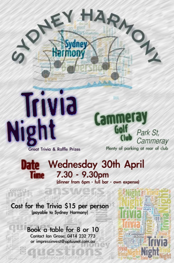 Trivia Night, 7.30pm-9.30pm Wednesday, 30th April